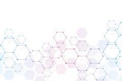 Fond médical ou conception de la science Structure moléculaire et composés chimiques Résumé géométrique et polygonal Image libre de droits