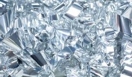 Fond métallique brillant argenté d'aluminium pour l'emballage de vacances photographie stock libre de droits