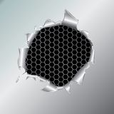 Fond métallique d'hexagone sous le trou Photographie stock