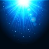 Fond magique avec des rayons de lumière, effet rougeoyant Les lumières bleues miroite sur un transparent Illustration de vecteur Photos libres de droits