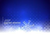 Fond magique bleu d'hiver de ciel et de flocons de neige Image libre de droits