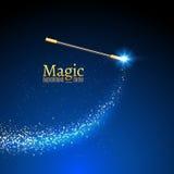 Fond magique de vecteur de baguette magique Baguette magique de magicien de miracle avec des lumières d'étincelle illustration de vecteur