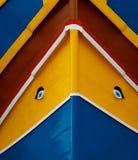 Fond maltais traditionnel de couleurs Les couleurs traditionnelles et les yeux ont trouvé sur les bateaux de pêche typiques de Ma Photographie stock libre de droits