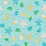 Fond marin mignon d'illustration de vecteur Configuration sans joint des seashells Perfectionnez pour le tissu, invitations, salu illustration de vecteur