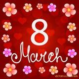 Fond 8 mars rouge avec des fleurs et des coeurs Illustration de vecteur illustration stock