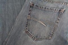 Fond matériel de denim de texture bleue de jeans Image libre de droits