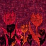 Fond mauve-foncé avec des fleurs de tulipe illustration stock