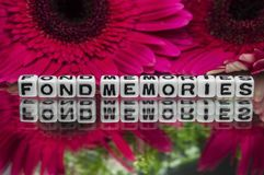 Fond memories text with flowers Stock Image