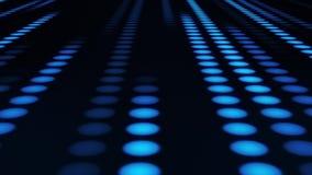 Fond mené au néon bleu de mouvement de boucle de Dots Circles VJ