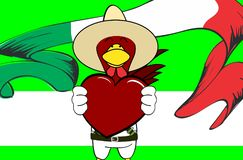 Fond mexicain de bande dessinée d'expressions de petit poulet d'Inlove illustration de vecteur