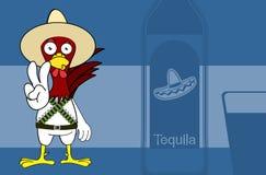 Fond mexicain de bande dessinée d'expressions de petit poulet mignon illustration libre de droits
