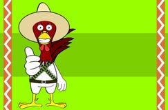 Fond mexicain de bande dessinée d'expressions de poulet drôle illustration de vecteur