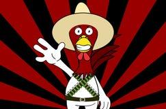 Fond mexicain de bande dessinée d'expressions de poulet heureux illustration libre de droits