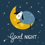 Fond mignon coloré avec les moutons, la lune, les étoiles et le texte anglais Bonne nuit illustration libre de droits
