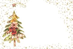 Fond mignon de blanc d'arbre de sapin de cartes de Noël illustration de vecteur