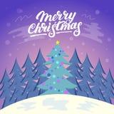 Fond mignon de paysage de Noël avec la neige et l'arbre Photo stock