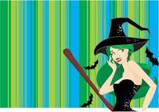Fond mignon de sorcière de Veille de la toussaint illustration stock