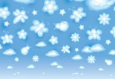 Fond mignon, nuages drôles de jouet, insectes et flo Image stock