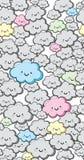 Fond mignon sans couture de nuages de vecteur illustration stock