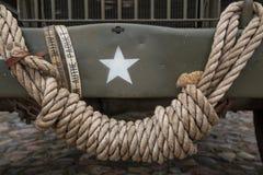 Fond militaire attaché de vintage de noeud de corde photos libres de droits