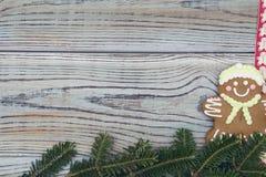 Fond minable en bois clair avec un biscuit de pain d'épice et des branches impeccables Photographie stock libre de droits