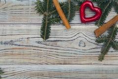 Fond minable en bois clair avec un cadre des branches et des bâtons de cannelle impeccables Image stock