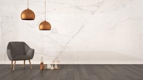 Fond minimaliste de concept de concepteur d'architecte avec le mur de marbre, le fauteuil gris, les bougies et le décor sur le pa Photos stock