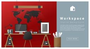 Fond moderne d'espace de travail de conception intérieure Image stock