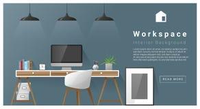 Fond moderne d'espace de travail de conception intérieure Photo libre de droits
