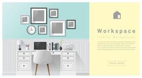 Fond moderne d'espace de travail de conception intérieure Photo stock