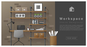 Fond moderne d'espace de travail de conception intérieure Photos libres de droits