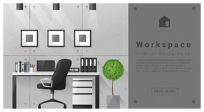 Fond moderne d'espace de travail de conception intérieure Photos stock