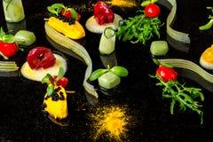 Fond moléculaire de cuisine de gastronomie de concept abstrait d'avant-garde photos stock