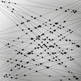 Fond monochrome abstrait linéaire de vecteur avec des points Photographie stock libre de droits