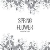 Fond monochrome de ressort avec les fleurs de floraison et endroit pour votre message textuel Carte de voeux Images stock