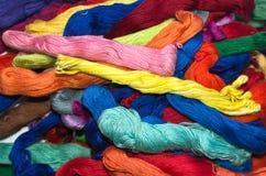 Fond multicolore de soie de broderie Image libre de droits