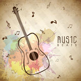Fond musical avec la guitare d'isolement Images stock
