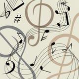 Fond musical beige avec les notes noires illustration de vecteur