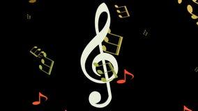 Fond musical, déplacement blanc de clef triple horizontal dans l'essaim des notes musicales jaunes et oranges sur le fond noir illustration de vecteur
