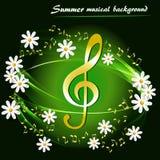 Fond musical de ressort abstrait avec les marguerites blanches illustration stock