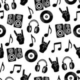 Fond musical de vecteur, modèle sans couture d'accessoires de musique Photo libre de droits
