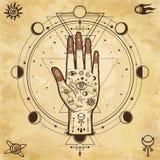 Fond mystérieux : main divine, oeil de providence, la géométrie sacrée, phases de la lune Photo libre de droits