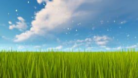 Fond naturel 4K d'herbe verte et de ciel nuageux illustration de vecteur