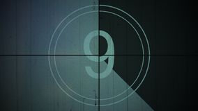 Fond neuf du numéro 9 de compte à rebours de cru de film illustration stock