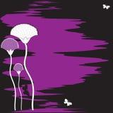 Fond noir abstrait avec la fleur et le bout de bureau Image libre de droits