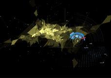 Fond noir abstrait de technologie de triangle et de vitesse de maille illustration libre de droits