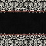 Fond noir antique de damassé de cru Photographie stock libre de droits