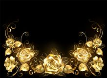 Fond noir avec des roses d'or Photo stock