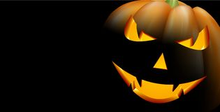 Fond noir avec le potiron de 3d Halloween Photo libre de droits