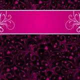 Fond noir avec les ornements décoratifs roses Photos libres de droits